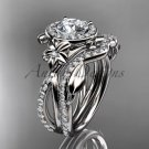 Platinum diamond flower engagement set, wedding set with a Moissanite center stone ADLR89S
