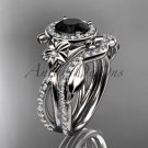 14kt white gold diamond engagement set, wedding set, with a Black Diamond center stone ADLR89S