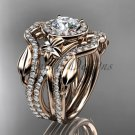 14kt rose gold diamond engagement ring, wedding ring, with double matching band ADLR89S