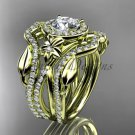 14kt yellow gold diamond engagement ring, wedding ring, with double matching band ADLR89S