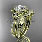 14kt yellow gold diamond leaf and vine, flower engagement set, wedding set, ADLR89S