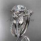 14kt white gold diamond leaf and vine, flower engagement set, wedding set, ADLR89S