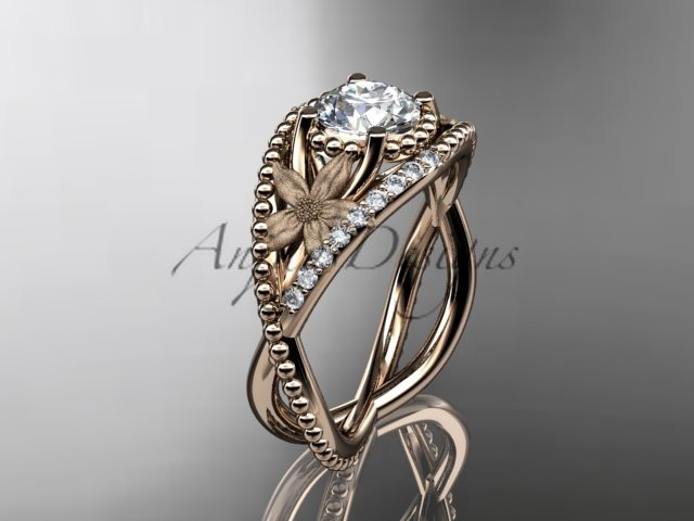 14kt rose gold diamond floral wedding ring, engagement ring ADLR88