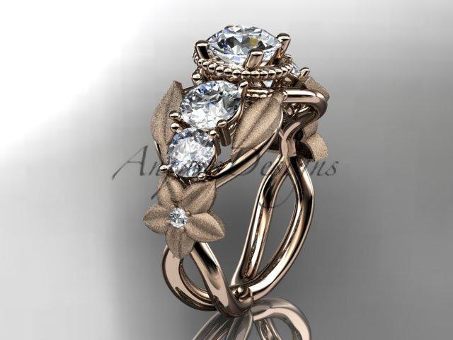 14kt rose gold diamond floral, leaf and vine wedding ring, engagement ring ADLR69