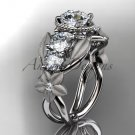 14kt white gold diamond floral wedding ring, engagement ring with Moissanite center stone ADLR69