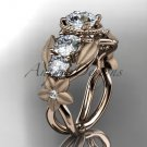14kt rose gold diamond floral wedding ring, engagement ring with Moissanite center stone ADLR69