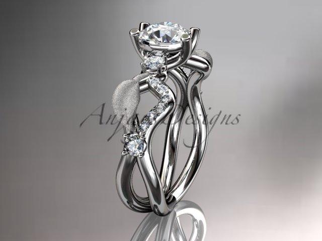 Platinum diamond wedding ring, engagement ring, wedding band with Moissanite center stone ADLR68