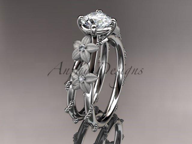 14kt white gold wedding ring, engagement ring with Moissanite center stone ADLR66
