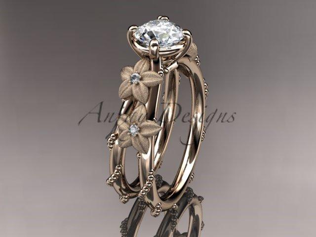 14kt rose gold diamond wedding ring, engagement ring with Moissanite center stone ADLR66