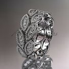 Platinum diamond leaf wedding ring, engagement ring, wedding band. nature inspired jewelry ADLR54