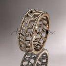 14kt rose gold diamond leaf and vine wedding ring, engagement ring, wedding band ADLR46