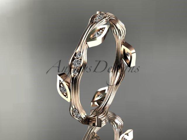 14k rose gold diamond leaf and vine wedding ring,engagement ring,wedding band. ADLR41
