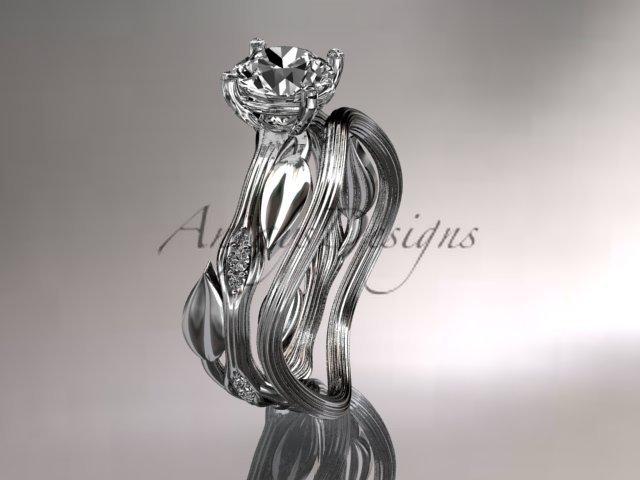 Platinum diamond wedding ring set, engagement ring set with Moissanite center stone ADLR31S