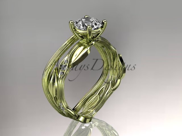 14k yellow gold diamond wedding ring set, engagement ring set with Moissanite center stone ADLR31S