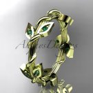 14kt yellow gold diamond leaf wedding band with emerald stones ADLR20B AAA