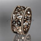 14k rose gold diamond leaf and vine wedding ring,engagement ring ADLR10