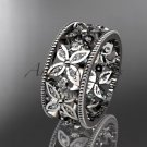 Platinum diamond leaf and vine wedding ring,engagement ring ADLR10