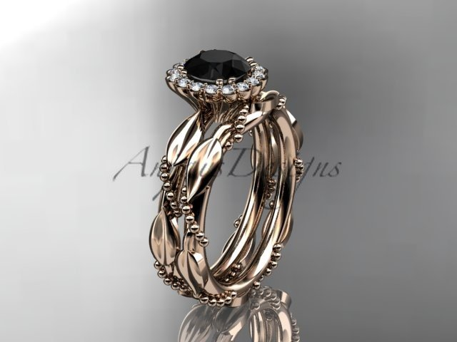 14kt rose gold engagement set with Black Diamond stone ADLR337