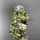 14k yellow gold diamond floral engagement ring Moissanite ADLR339