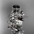 14k white gold diamond floral engagement ring Black Diamond ADLR339