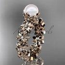 14k rose gold diamond pearl vine and leaf engagement ring AP57