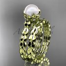 14kt yellow gold diamond leaf and vine, floral pearl wedding set, engagement set AP35S