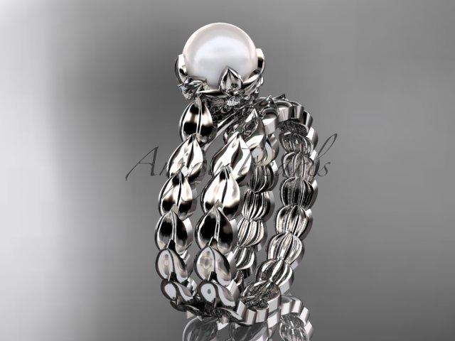 Platinum diamond leaf and vine, floral pearl wedding set, engagement set AP35S