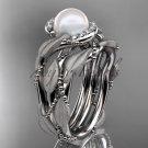 Platinum diamond pearl vine and leaf engagement set AP65S