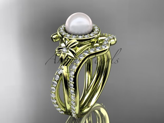 14k yellow gold diamond pearl vine and leaf engagement set AP89S