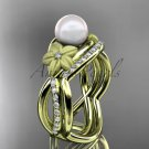 14k yellow gold diamond pearl vine and leaf engagement set AP90S