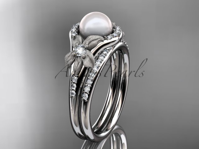 14k white gold diamond pearl vine and leaf engagement set AP91S