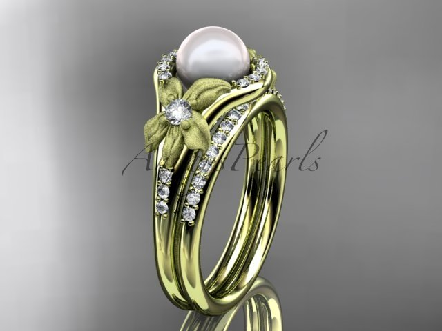 14k yellow gold diamond pearl vine and leaf engagement set AP91S