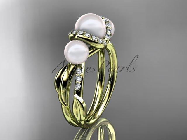14k yellow gold diamond pearl engagement ring AP274