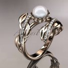 14kt rose gold diamond pearl engagement ring AP287