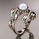 14kt rose gold diamond pearl engagement ring AP287
