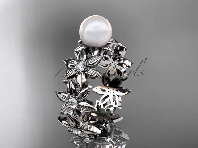 Platinum diamond pearl engagement ring AP339