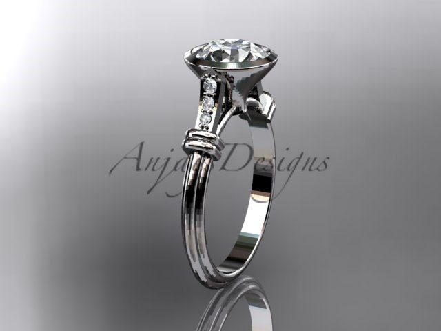 14k white gold diamond leaf,vine wedding ring,engagement ring ADLR23