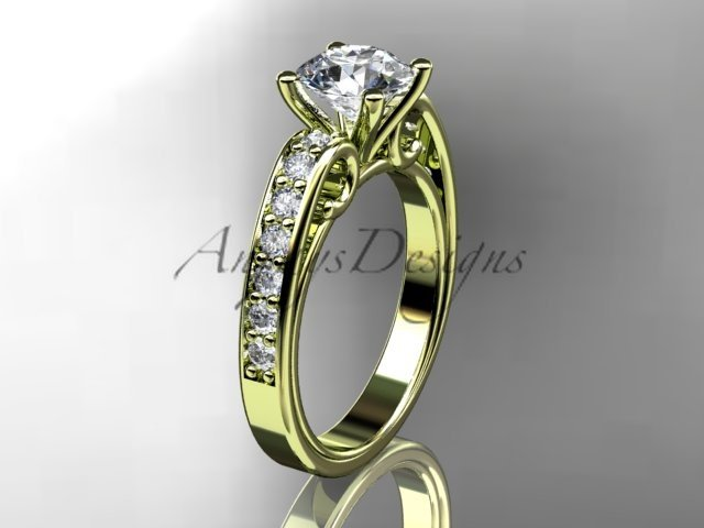 "14kt yellow gold diamond engagement ring with a ""Forever Brilliant"" Moissanite center stone ADER142"