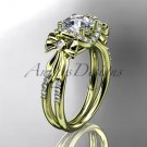 14kt yellow gold diamond engagement ring with a Forever One Moissanite  center stone ADER155