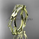 14k yellow gold diamond leaf,vine wedding ring ADLR353B