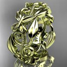 14k yellow gold leaf and vine,flower wedding ring,wedding band ADLR346G