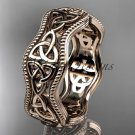 14kt rose gold celtic trinity knot engagement ring, wedding band CT750B