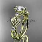14kt yellow gold celtic trinity knot engagement ring with a Moissanite center stone CT768