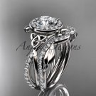 14kt white gold celtic trinity knot engagement set, wedding ring CT789S