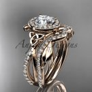14kt rose gold celtic trinity knot engagement set Moissanite center stone CT789S