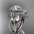 Platinum celtic trinity knot engagement set Moissanite center stone CT789S
