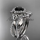14kt white gold celtic trinity knot engagement set with a Black Diamond center stone CT789S