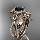 14kt rose gold celtic trinity knot engagement set with a Black Diamond center stone CT789S