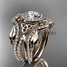14kt rose gold celtic trinity knot engagement ring with double matching band CT789S