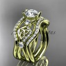 14kt yellow gold celtic trinity knot engagement ring with a Moissanite center stone CT789S